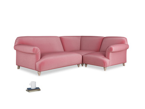 Large right hand Soufflé Modular Corner Sofa in Blushed pink vintage velvet with both arms