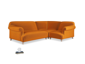 Large right hand Soufflé Modular Corner Sofa in Spiced Orange clever velvet with both arms