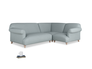 Large right hand Soufflé Modular Corner Sofa in Quail's egg clever linen with both arms