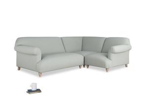 Large right hand Soufflé Modular Corner Sofa in Eggshell grey clever cotton with both arms