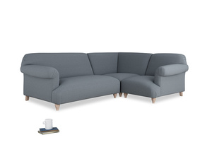 Large right hand Soufflé Modular Corner Sofa in Blue Storm washed cotton linen with both arms