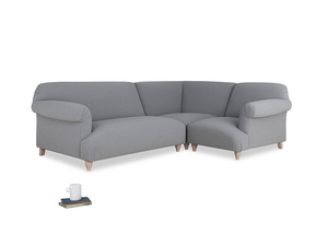 Large right hand Soufflé Modular Corner Sofa in Dove grey wool with both arms