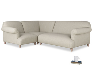Large left hand Soufflé Modular Corner Sofa in Thatch house fabric with both arms
