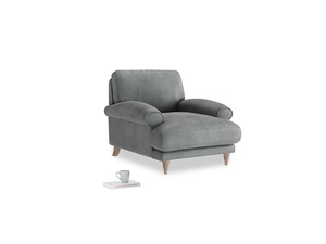 Slowcoach Armchair in Faded Charcoal beaten leather