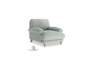 Slowcoach Armchair in French blue brushed cotton