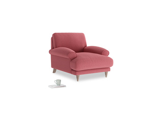 Slowcoach Armchair in Raspberry brushed cotton