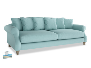 Extra large Sloucher Sofa in Adriatic washed cotton linen