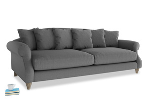 Extra large Sloucher Sofa in Ash washed cotton linen