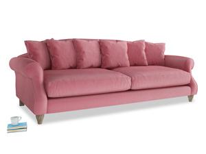 Extra large Sloucher Sofa in Blushed pink vintage velvet
