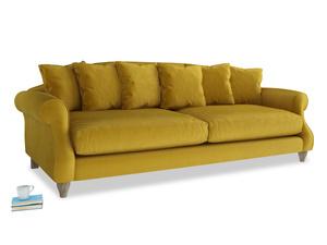 Extra large Sloucher Sofa in Burnt yellow vintage velvet