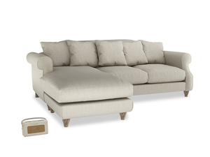 XL Left Hand  Sloucher Chaise Sofa in Thatch house fabric