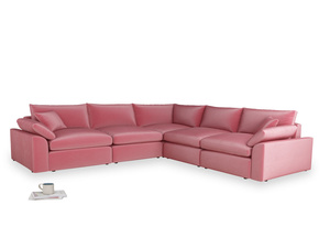 Even Sided Cuddlemuffin Modular Corner Sofa in Blushed pink vintage velvet