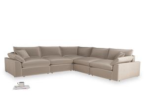 Even Sided Cuddlemuffin Modular Corner Sofa in Fawn clever velvet