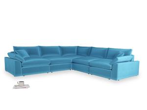 Even Sided Cuddlemuffin Modular Corner Sofa in Teal Blue plush velvet