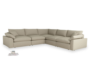 Even Sided Cuddlemuffin Modular Corner Sofa in Jute vintage linen