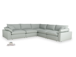 Even Sided Cuddlemuffin Modular Corner Sofa in French blue brushed cotton
