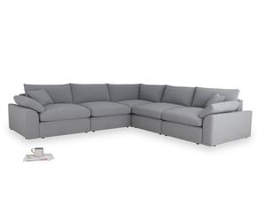 Even Sided Cuddlemuffin Modular Corner Sofa in Dove grey wool