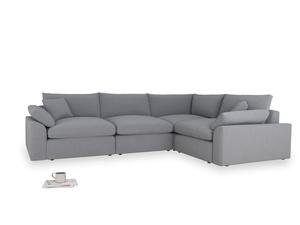 Large right hand Cuddlemuffin Modular Corner Sofa in Dove grey wool
