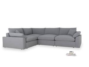 Large left hand Cuddlemuffin Modular Corner Sofa in Dove grey wool