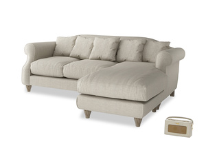 Large right hand Sloucher Chaise Sofa in Thatch house fabric