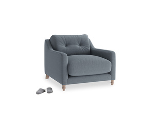 Slim Jim Armchair in Blue Storm washed cotton linen