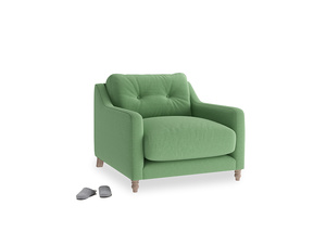 Slim Jim Armchair in Clean green Brushed Cotton