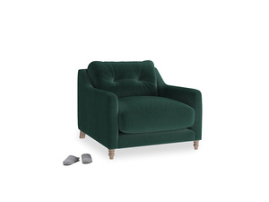 Slim Jim Armchair in Dark green Clever Velvet