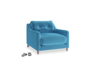 Slim Jim Armchair in Teal Blue plush velvet