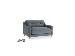 Slim Jim Love seat in Blue Storm washed cotton linen