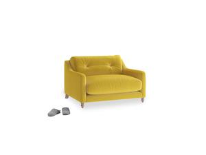 Slim Jim Love seat in Bumblebee clever velvet