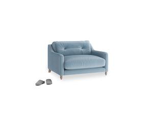 Slim Jim Love seat in Chalky blue vintage velvet