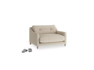 Slim Jim Love seat in Flagstone clever woolly fabric
