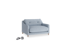 Slim Jim Love seat in Frost clever woolly fabric