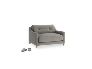 Slim Jim Love seat in Monsoon grey clever cotton