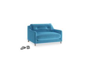Slim Jim Love seat in Teal Blue plush velvet