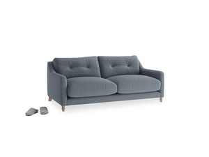 Small Slim Jim Sofa in Blue Storm washed cotton linen