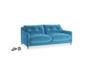 Small Slim Jim Sofa in Teal Blue plush velvet