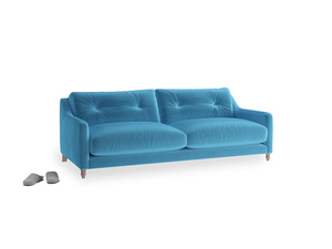 Medium Slim Jim Sofa in Teal Blue plush velvet