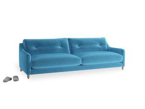 Large Slim Jim Sofa in Teal Blue plush velvet