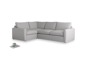 Large left hand Chatnap modular corner sofa bed in Flint brushed cotton with both arms