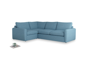 Large left hand Chatnap modular corner sofa bed in Moroccan blue clever woolly fabric with both arms