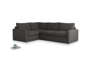 Large left hand Chatnap modular corner sofa bed in Old Charcoal brushed cotton with both arms