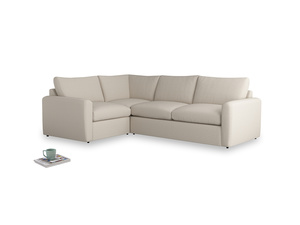 Large left hand Chatnap modular corner storage sofa in Buff brushed cotton with both arms