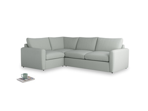 Large left hand Chatnap modular corner storage sofa in Eggshell grey clever cotton with both arms