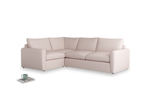 Large left hand Chatnap modular corner storage sofa in Faded Pink brushed cotton with both arms