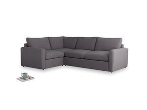 Large left hand Chatnap modular corner storage sofa in Graphite grey clever cotton with both arms