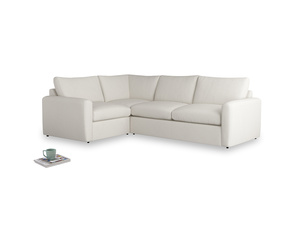 Large left hand Chatnap modular corner storage sofa in Oyster white clever linen with both arms
