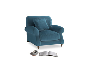 Crumpet Armchair in Old blue Clever Deep Velvet