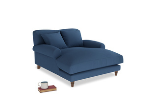 Crumpet Love Seat Chaise in True blue Clever Linen