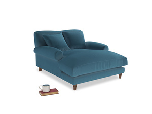 Crumpet Love Seat Chaise in Old blue Clever Deep Velvet